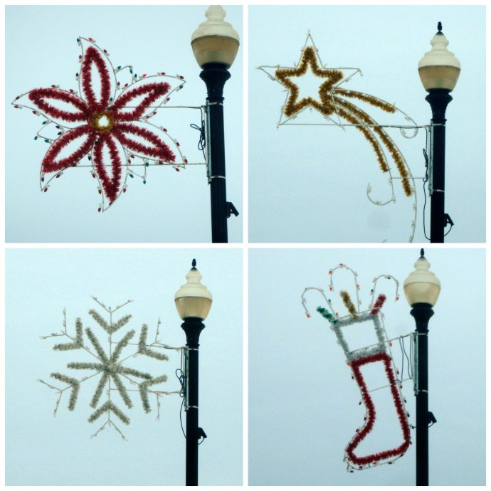 Christmas decorations - poinsettia, star, snowflake, and stocking in Becker, MN