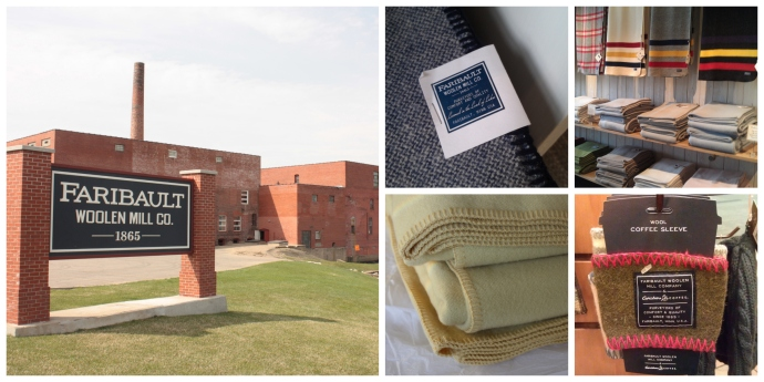 Photo collage with a view outside the Faribault Woolen Mill, two closeup images of blankets, an image of several blankets for sale, and a coffee sleeve.