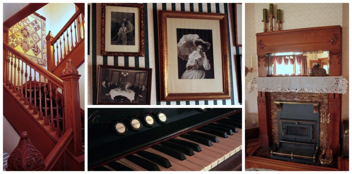 Photo collage of the grand staircase, antique photos on the wall, an up-close view of the organ, the fireplace