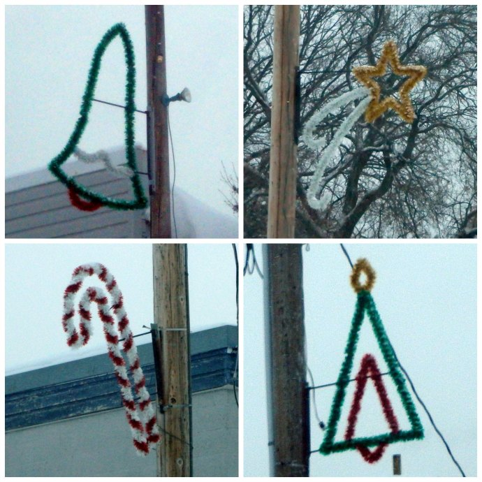 Christmas decorations in Lengby, MN - stocking, tree, candy cane, bell, shooting star