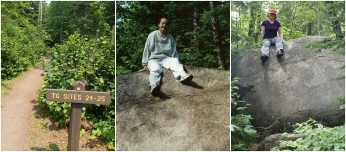 Campsites 24-25 signs, and two pictures of a woman sitting on a rock