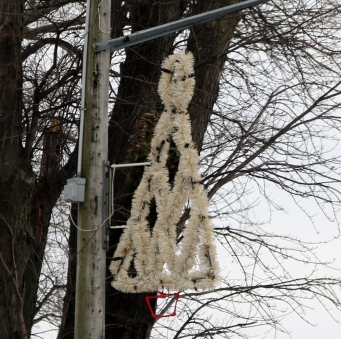 Christmas tree made of white tinsel