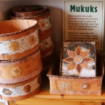 birch bark bowls and framed decorations